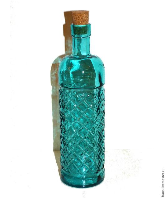 Декупаж и роспись ручной работы. Ярмарка Мастеров - ручная работа. Купить Бутылка с пробкой из цветного стекла. Handmade. Фиолетовый