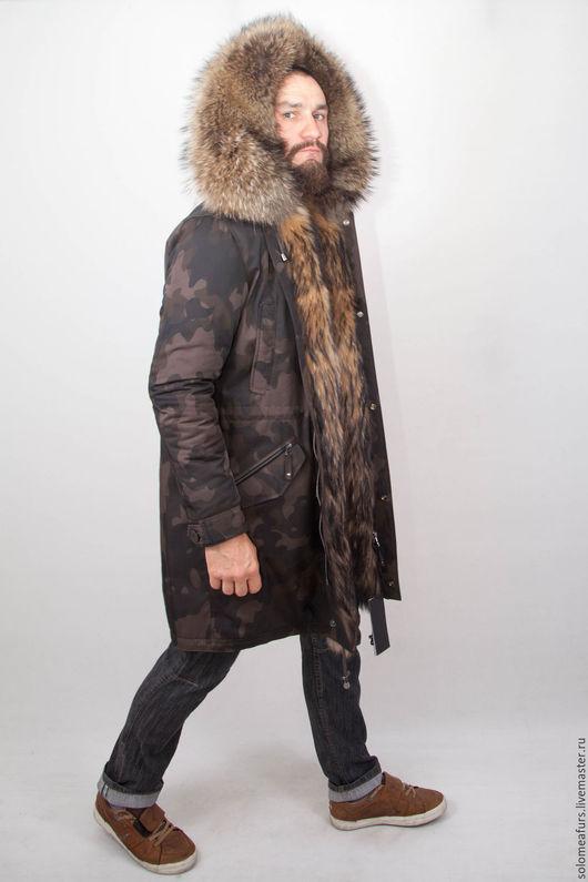 Верхняя одежда ручной работы. Ярмарка Мастеров - ручная работа. Купить Парка длинная мужская с подкладом  из натурального меха. Handmade.