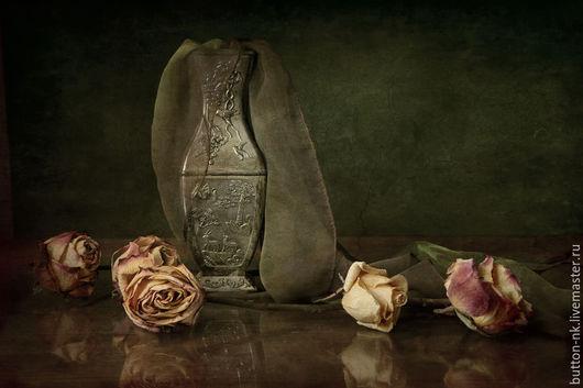 Фотокартины ручной работы. Ярмарка Мастеров - ручная работа. Купить Натюрморт Меланхолия (ваза розы сухие цветы платок). Handmade.