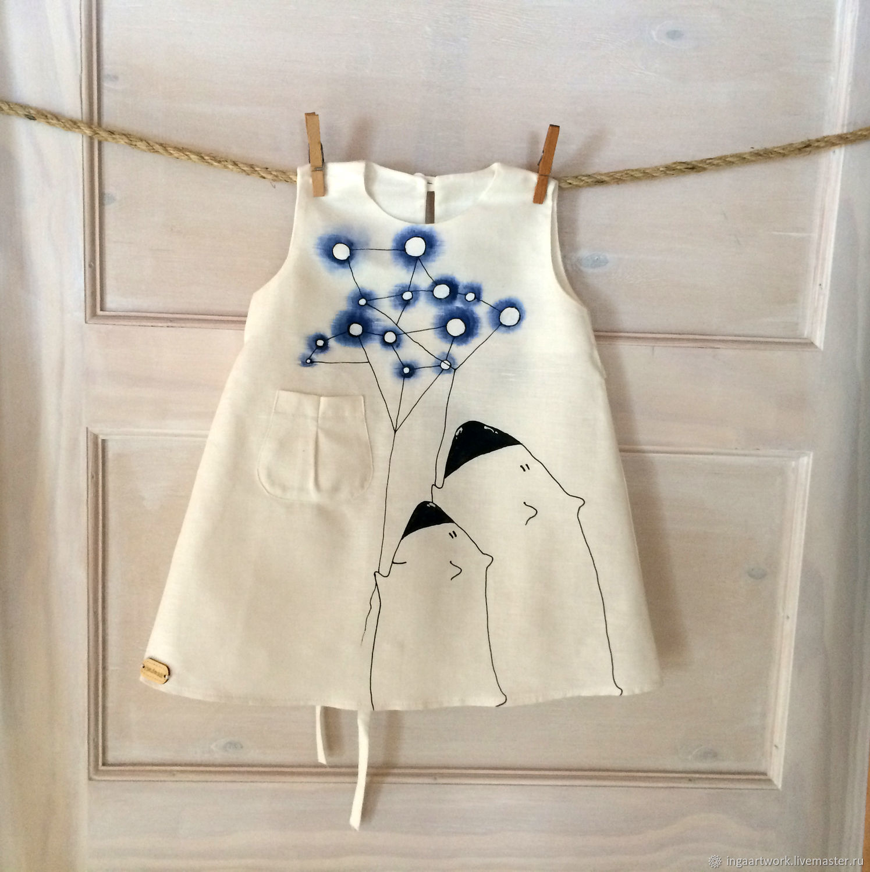 7eb8ecfdc ... linen vintage style gift. Clothes for Girls handmade. Livemaster -  handmade. Buy White polar bear toddler girl dress ...