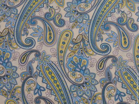 Шитье ручной работы. Ярмарка Мастеров - ручная работа. Купить Ткань Лен Голубой (Огурцы). Handmade. Лен, огурцы