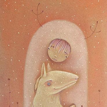 """Картины и панно ручной работы. Ярмарка Мастеров - ручная работа Картины: Картина с собачкой """"Завтра будет бело"""". Handmade."""