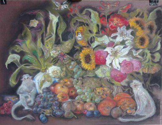 """Натюрморт ручной работы. Ярмарка Мастеров - ручная работа. Купить картина """"натюрморт с обезьянами"""". Handmade. Комбинированный, натюрморт с фруктами"""