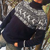 Одежда ручной работы. Ярмарка Мастеров - ручная работа Свитер с оленями в скандинавском стиле шерсть синий. Handmade.