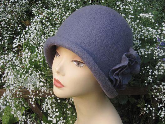 "Шляпы ручной работы. Ярмарка Мастеров - ручная работа. Купить Шляпа  валяная клош  ""Grey"". Handmade. Серый"