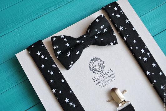 Комплекты аксессуаров ручной работы. Ярмарка Мастеров - ручная работа. Купить Черная галстук бабочка со звездами + Подтяжки Черное небо. Handmade.