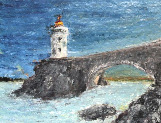 Символизм ручной работы. Ярмарка Мастеров - ручная работа. Купить Маяк. Handmade. Синий, голубой, бирюзовый, море, маяк, скалы