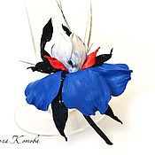Украшения handmade. Livemaster - original item Iris leather Marine wind flower brooch in gift. Handmade.