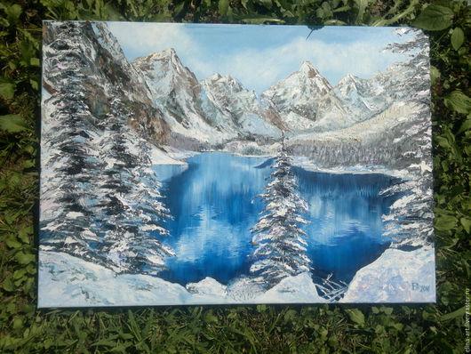 Пейзаж ручной работы. Ярмарка Мастеров - ручная работа. Купить Золотые горы. Handmade. Комбинированный, Снег, снежные вершишы, горы