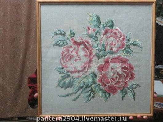 """Картины цветов ручной работы. Ярмарка Мастеров - ручная работа. Купить Картина """"Букет роз"""". Handmade. Картина, шелк"""