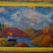 """Картины и панно ручной работы. Ярмарка Мастеров - ручная работа Картина из шерсти (панно)  """"Рыбачок"""" (репродукция). Handmade."""