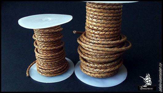 Для украшений ручной работы. Ярмарка Мастеров - ручная работа. Купить Натуральный плетенный кожаный шнур (3 и 4 мм.).. Handmade.
