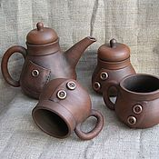 """Посуда ручной работы. Ярмарка Мастеров - ручная работа чайный набор """"модный"""". Handmade."""