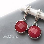 Украшения handmade. Livemaster - original item Earrings Berries jadeite on silver locks red bright. Handmade.