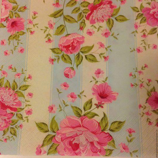 Салфетка для декупажа - нежные шебби цветы на полосатом фоне Декупажная радость