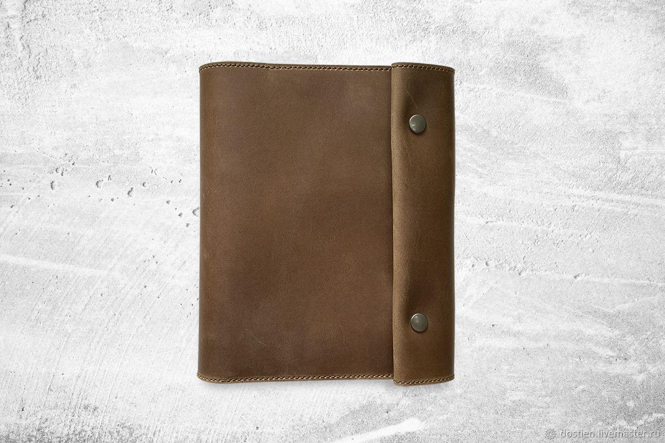 Кожаный блокнот а5 на кнопках коричневый, Блокноты, Москва,  Фото №1