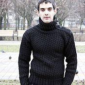 """Мужская одежда handmade. Livemaster - original item Мужской свитер """"Ажурный Черный"""". Handmade."""