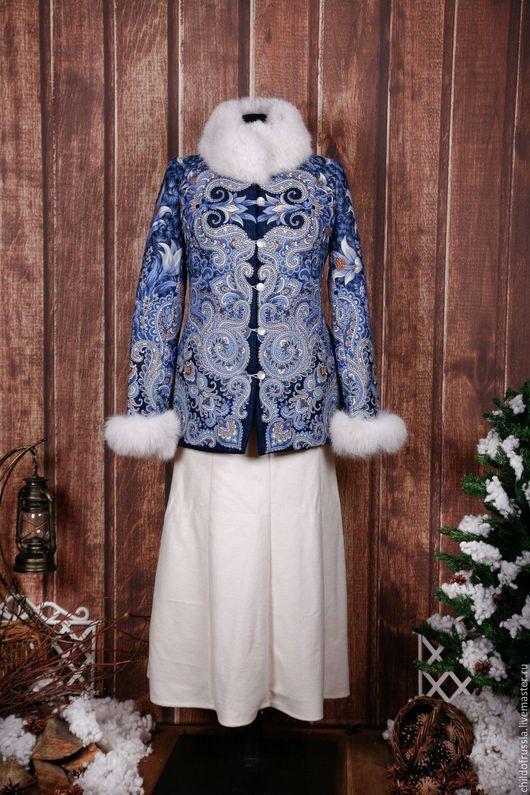"""Верхняя одежда ручной работы. Ярмарка Мастеров - ручная работа. Купить Полушубок """"Морозко"""". Handmade. Комбинированный, полушубок, платок"""