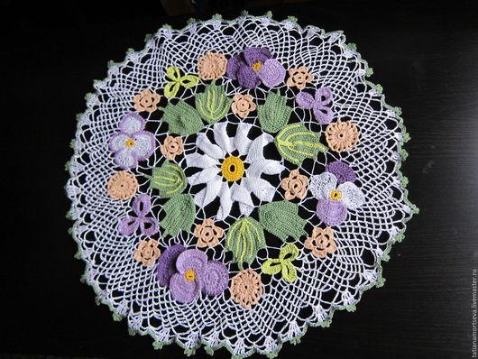 Текстиль, ковры ручной работы. Ярмарка Мастеров - ручная работа. Купить Салфетка, вязанная крючком, с цеточным орнаментом и ромашкой по центру. Handmade.