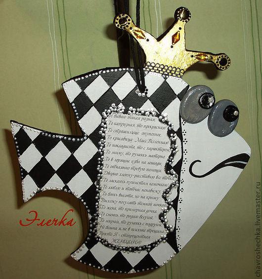 """Юмор ручной работы. Ярмарка Мастеров - ручная работа. Купить Панно """"Золотая рыбка"""" с короной. Handmade. Рыба, поздравительная открытка"""