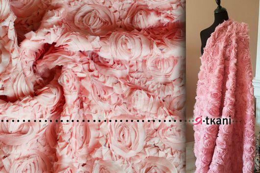 НОВИНКА! Р014. Ткань фактурная `Розы на сетке`. Цвет пыльная роза.  100%пэ. Ширина 120см.Китай.