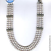 Украшения ручной работы. Ярмарка Мастеров - ручная работа Ожерелье натуральный жемчуг серебристый. Handmade.