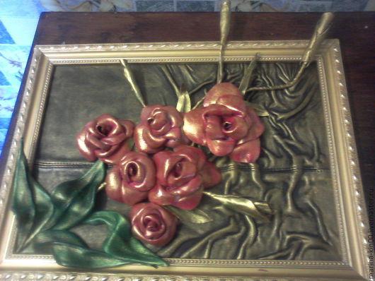 Картины цветов ручной работы. Ярмарка Мастеров - ручная работа. Купить золотые розы. Handmade. Золотой, красный цвет