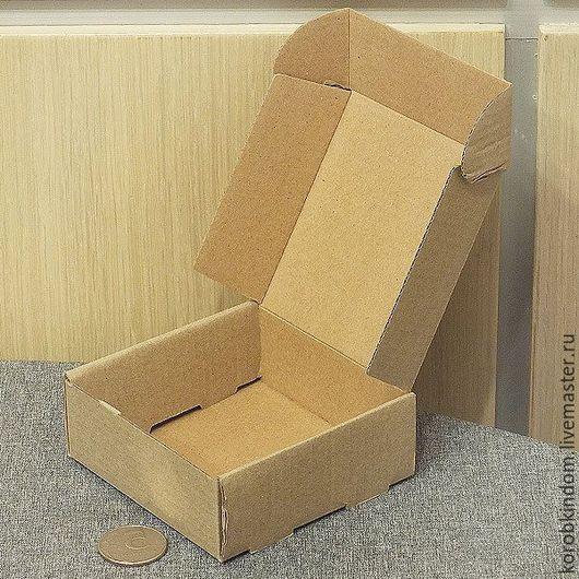 Упаковка ручной работы. Ярмарка Мастеров - ручная работа. Купить Коробочка 9х9х3,5 микрогофрокартон коричневый. Handmade. Коробочка