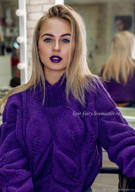 свитер листья фиолетовый купить в интернет магазине на ярмарке