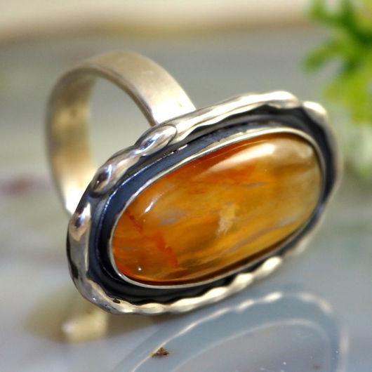 """Кольца ручной работы. Ярмарка Мастеров - ручная работа. Купить Кольцо """"Пчелка"""" - желто-оранжевый опал, серебро. Handmade."""
