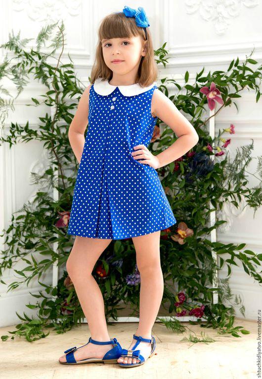 """Одежда для девочек, ручной работы. Ярмарка Мастеров - ручная работа. Купить СКИДКА Сарафан """"Горошки на синем"""". Handmade. Тёмно-синий"""