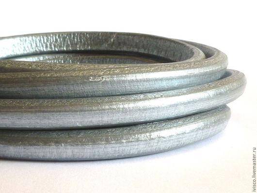 Для украшений ручной работы. Ярмарка Мастеров - ручная работа. Купить Шнур Регализ 10х6мм серебряный. Handmade. Кожаный шнур