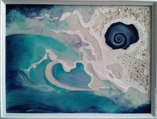 Пейзаж ручной работы. Ярмарка Мастеров - ручная работа. Купить Морское панно «Сон ракушки». Handmade. Тёмно-синий
