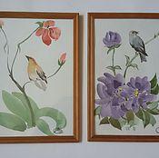 """Картины и панно ручной работы. Ярмарка Мастеров - ручная работа Картины для интерьера """"Птицы в цветах"""" - 2 шт, акварель в рамке. Handmade."""
