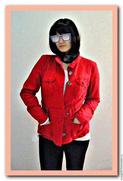 Одежда. Ярмарка Мастеров - ручная работа. Купить Красная фирменная куртка пиджак. Handmade. Ярко-красный, винтажная куртка