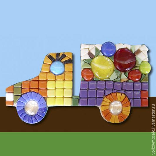 Город ручной работы. Ярмарка Мастеров - ручная работа. Купить смальта-пазл «мозаика Машинка фруктовая». Handmade. Ярко-зелёный