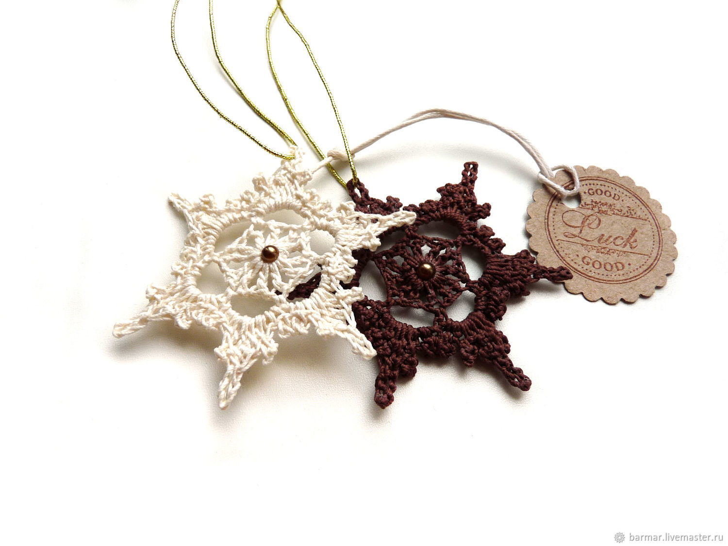 Snowflakes set 6 cm (2 pieces) knitted brown, Christmas decorations, Moscow,  Фото №1
