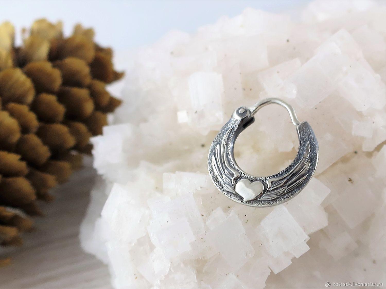 Men's earring winged heart - biker's earring, Earrings, Zaporozhye,  Фото №1