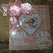 Открытки ручной работы. Ярмарка Мастеров - ручная работа Открытка с днем рождения ребенка, девочки, с новорожденной. Handmade.