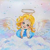 Картины и панно ручной работы. Ярмарка Мастеров - ручная работа Ангелочек-картина на шелке. Handmade.
