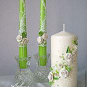 """Свадебный салон ручной работы. Ярмарка Мастеров - ручная работа Свадебные свечи """"Зеленое яблоко"""". Handmade."""