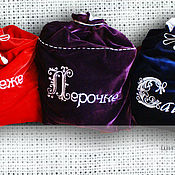 Сувениры и подарки handmade. Livemaster - original item A bag of velvet with the Name of the Logo Picture. Handmade.