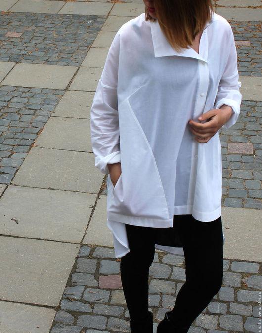Блузки ручной работы. Ярмарка Мастеров - ручная работа. Купить Рубашка женская, белая, хлопок.. Handmade. Белый, свободный крой