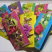 """Открытки ручной работы. Ярмарка Мастеров - ручная работа Открытки цветочные """"Яркие"""". Handmade."""