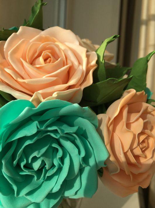 Букеты ручной работы. Ярмарка Мастеров - ручная работа. Купить Букет роз из фоамирана. Handmade. Зелено-голубой, фом
