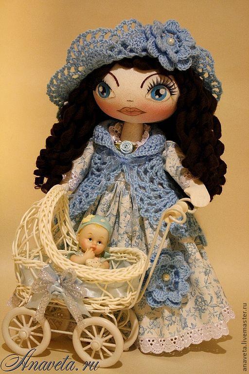 Человечки ручной работы. Ярмарка Мастеров - ручная работа. Купить куколка «заботливая Мама с малышом». Handmade. Голубой, авторская кукла