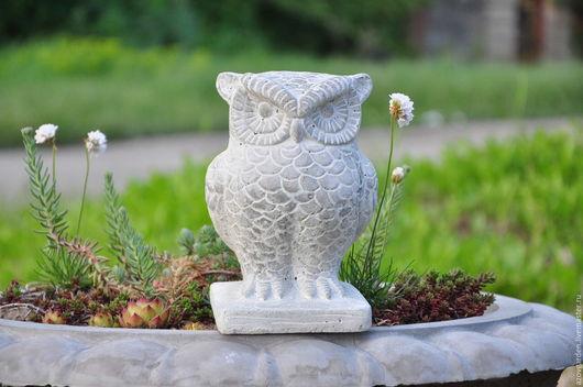 Статуэтки ручной работы. Ярмарка Мастеров - ручная работа. Купить Статуэтка садовая Сова из бетона в стиле Прованс, украшение для клумбы. Handmade.