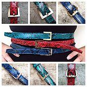 Аксессуары handmade. Livemaster - original item strap python skin thin emerald red blue. Handmade.