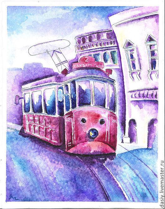"""Город ручной работы. Ярмарка Мастеров - ручная работа. Купить Картина акварелью """"Весенний трамвайчик"""". Handmade. Бирюзовый, трамвай, Стамбул"""