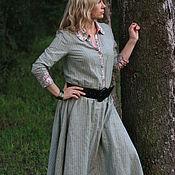 Одежда ручной работы. Ярмарка Мастеров - ручная работа Платье-рубашка лен, шебби, серое в полоску, стиль БОХО, кантри. Handmade.